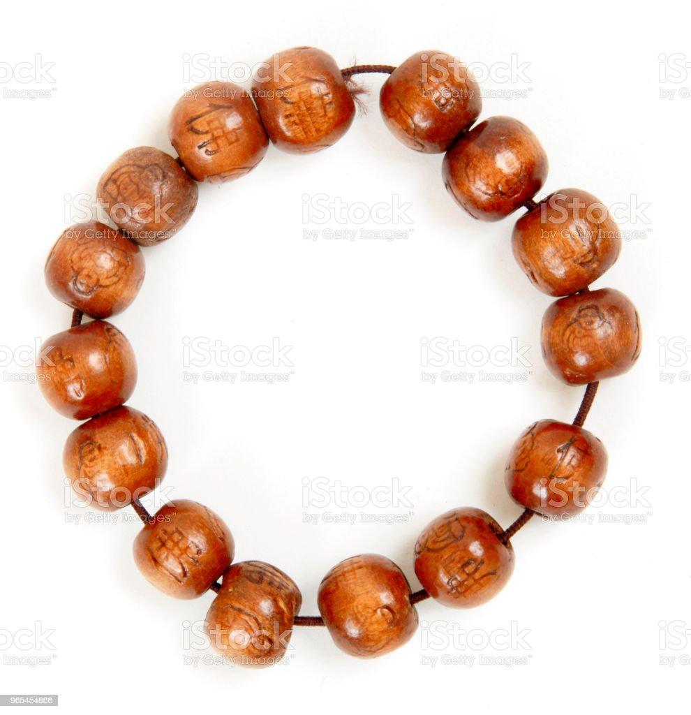 wooden prayer beads isolated on white zbiór zdjęć royalty-free