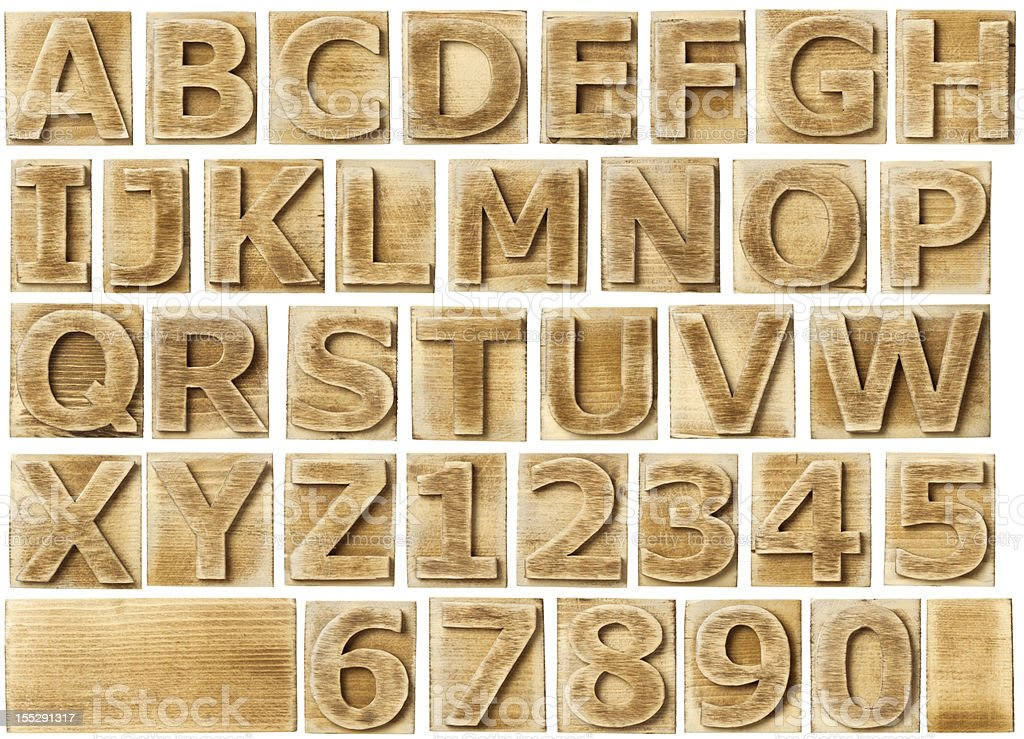 Wooden print stamp alphabet and numbers stock photo