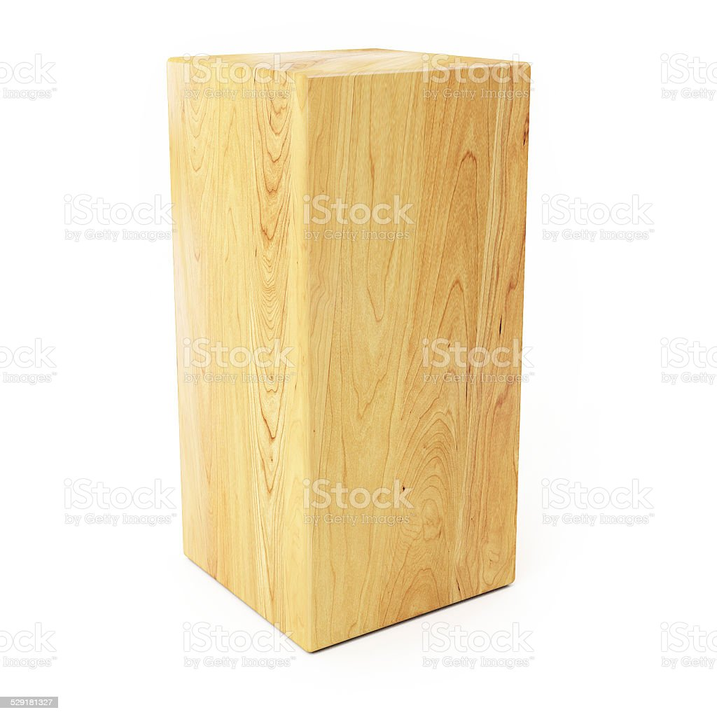 Wooden Prism Isolated on White background stock photo