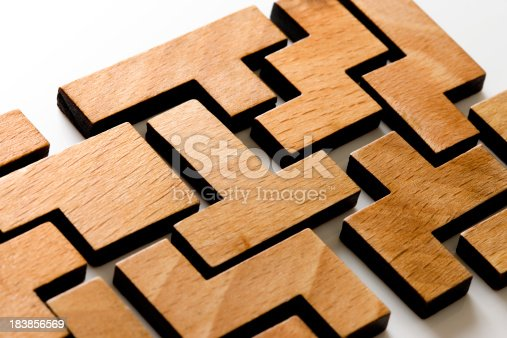 Wooden Puzzle white Background.