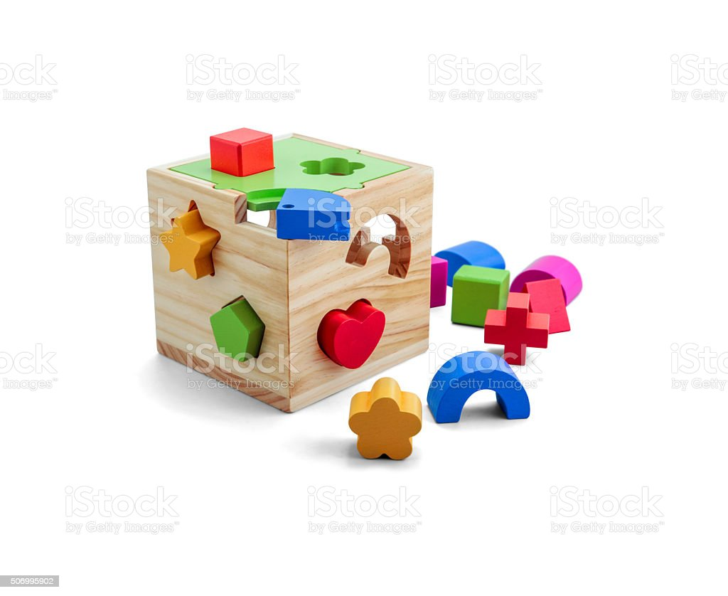 Wooden puzzle toy with colorful blocs isolated over white stock photo