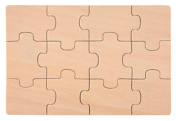 Wooden puzzles blank empty elements stock photo