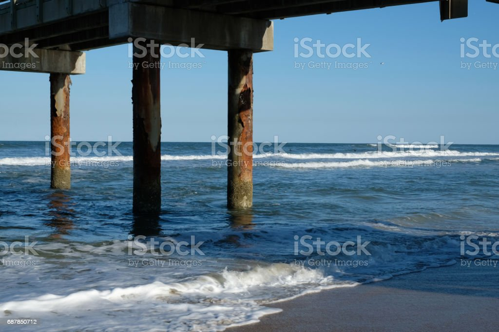 Wooden Pylon Of St Johns County Ocean Pier On St Augustine Beach Florida On A