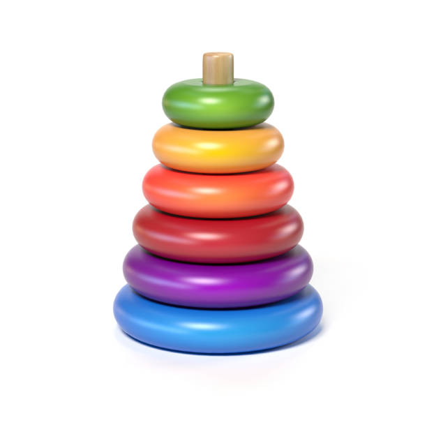 wooden pyramid children's toy made of colorful rings on a white background 3d rendering stock photo