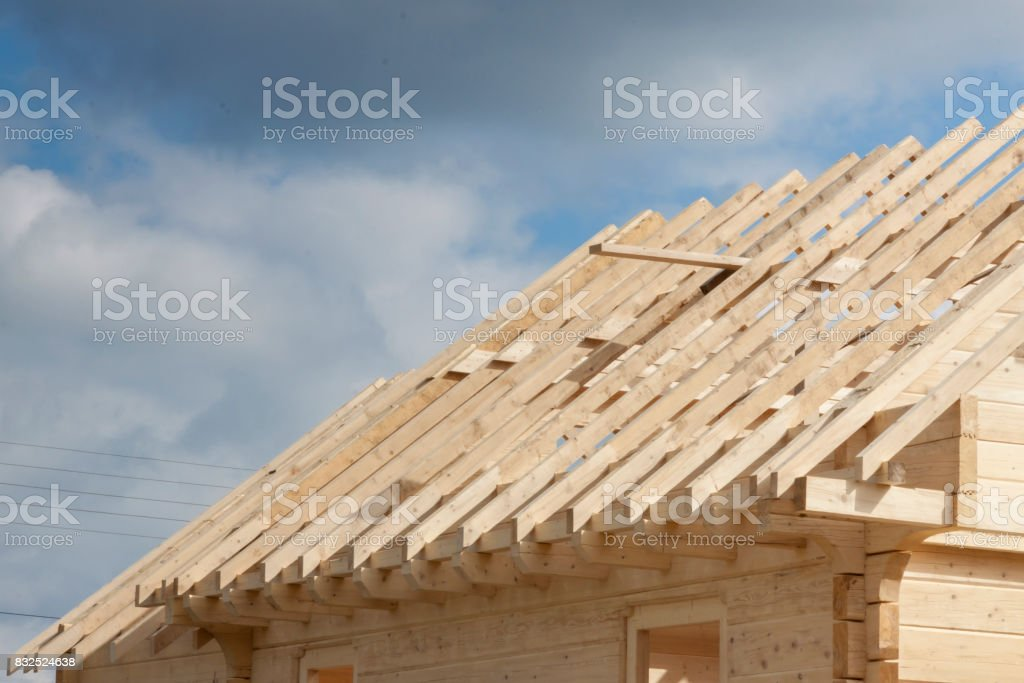 Wooden rafter framing stock photo