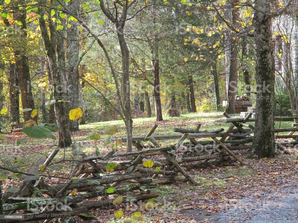 Wooden Rail Fence in a Park in Tennessee stock photo