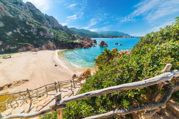 wooden railing in costa paradiso - sardegna foto e immagini stock