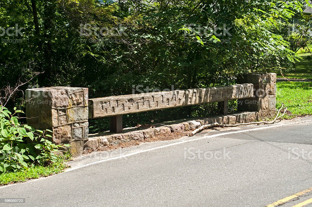 Wooden railing of small bridge royalty-free stock photo