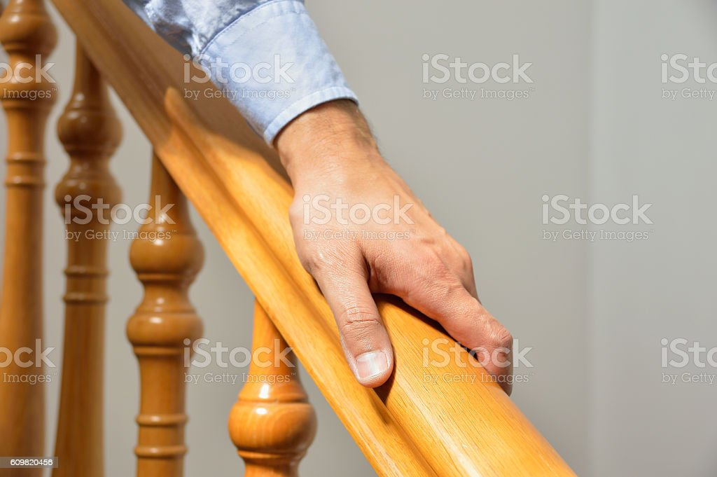 wooden railing stock photo