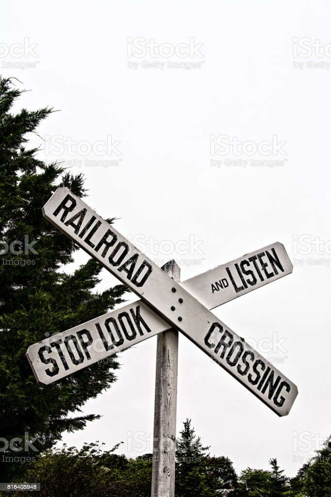 Wooden Railroad Crossing Warning sign, old fashion style stock photo