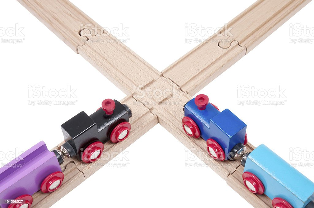 Wooden railways concepts stock photo