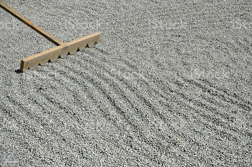 Wooden Rake In Japanese Zen Garden With Gravel And Pattern ...
