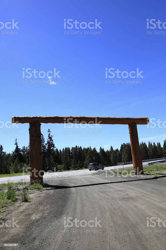wooden ranch gates highway 20 idaho summer blue sky stock photo