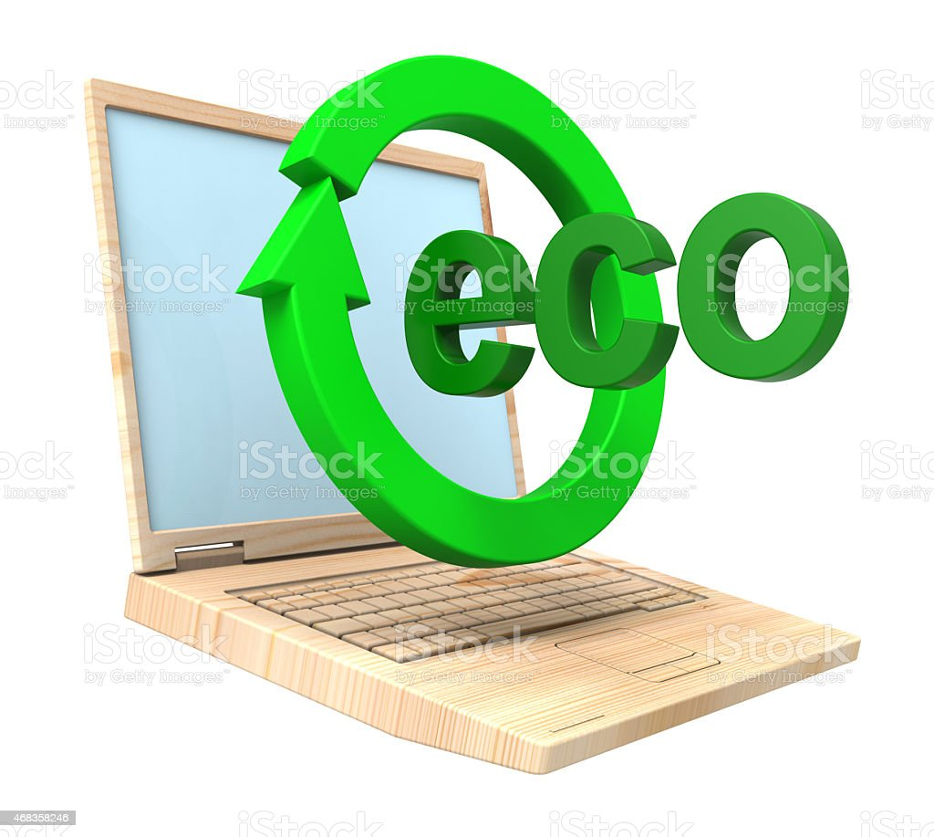 Wooden recyclable laptop isolated over white. royalty-free stock photo