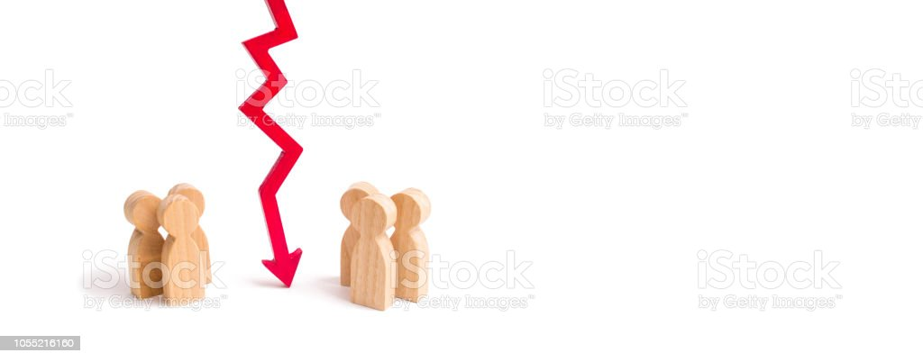 A wooden red chart arrow down divides the two groups discussing the case. Termination and breakdown of relations, breaking ties. Contract break, conflict of interests. Negotiations. banner stock photo
