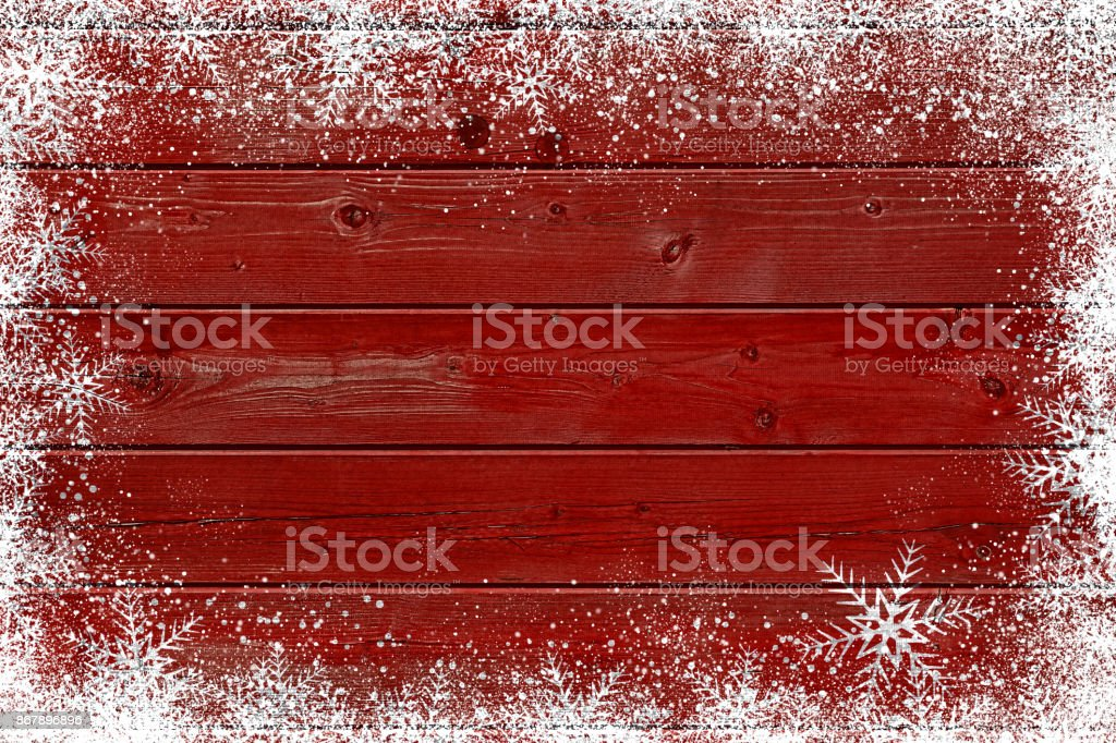 Wooden red Christmas background with snowflake stock photo