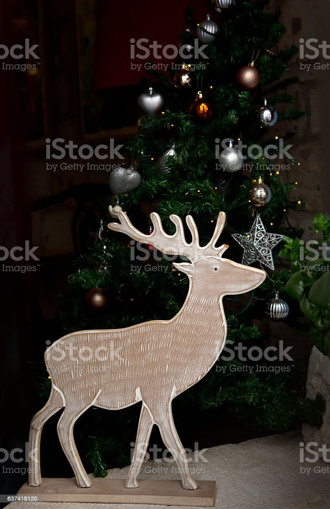 wooden reindeer and christmas tree decoration with natural mate royalty free stock photo - Wooden Deer Christmas Decorations