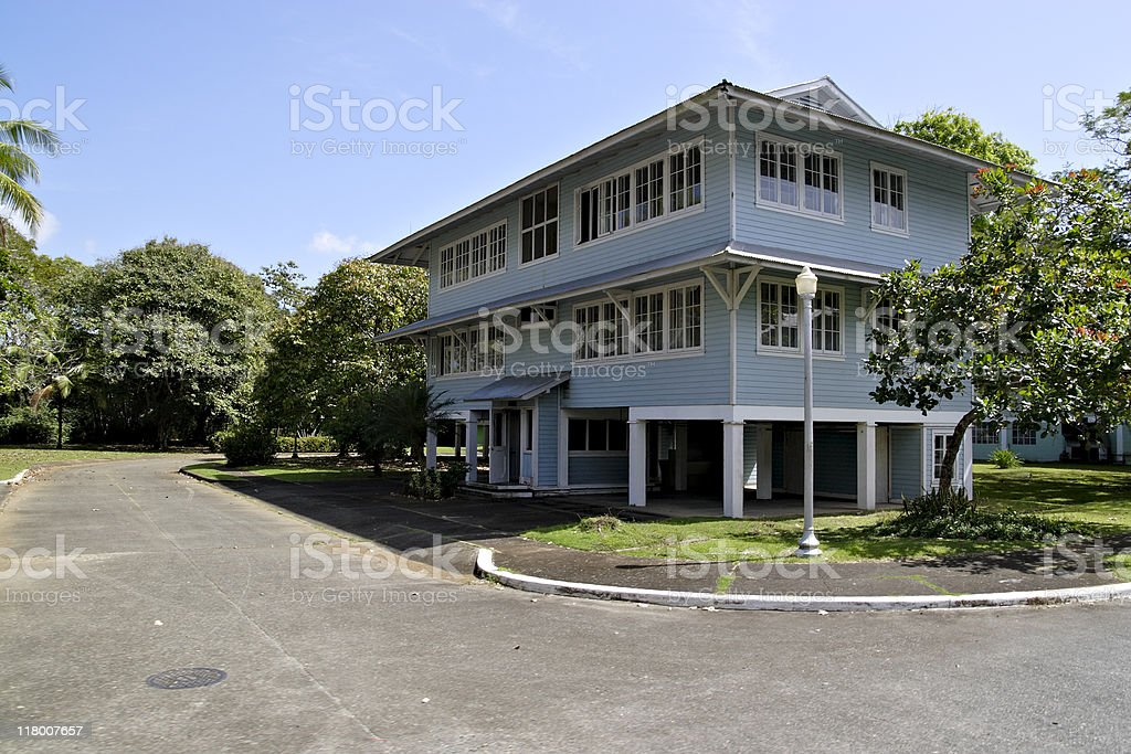 Wooden residences in Panama stock photo