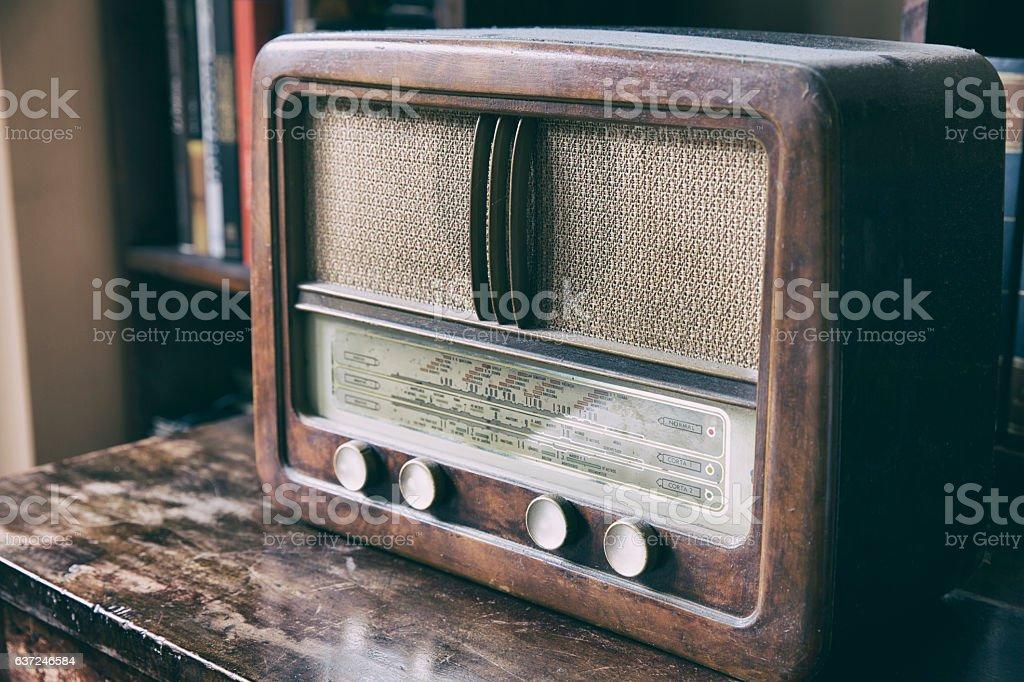 Wooden retro radio stock photo