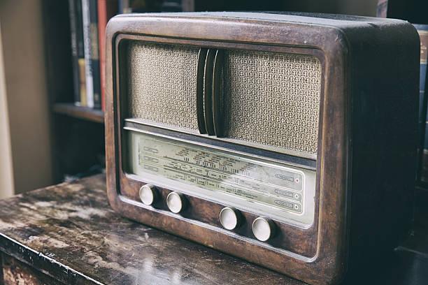 wooden retro radio - radio stock photos and pictures