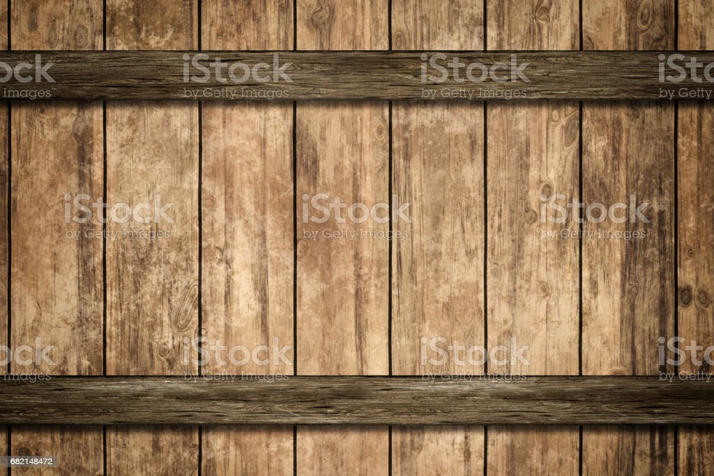 Wooden rings with rivets on old barrel stock photo