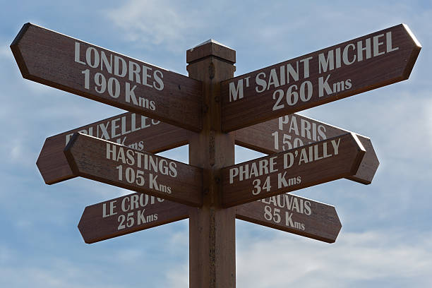 wooden Road sign a wooden road sign in normandy manche stock pictures, royalty-free photos & images