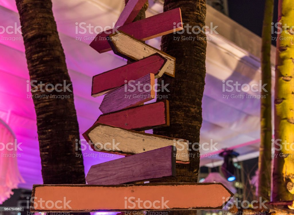 Wooden road signs in the evening royalty-free stock photo