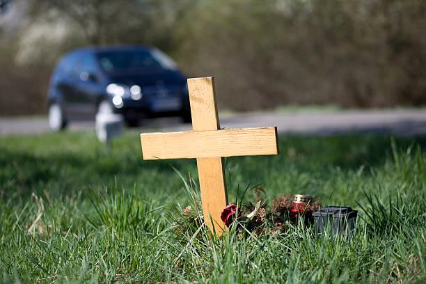 Wooden roadside memorial stock photo