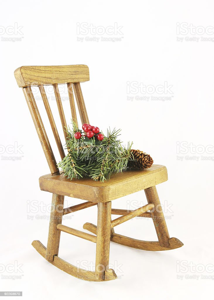 Awe Inspiring Wooden Rocking Chair With Christmas Decorations Stock Photo Machost Co Dining Chair Design Ideas Machostcouk