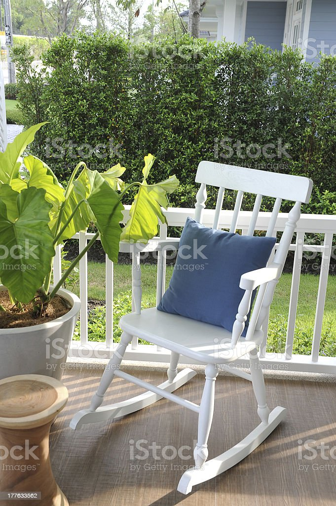 wooden rocking chairs royalty-free stock photo