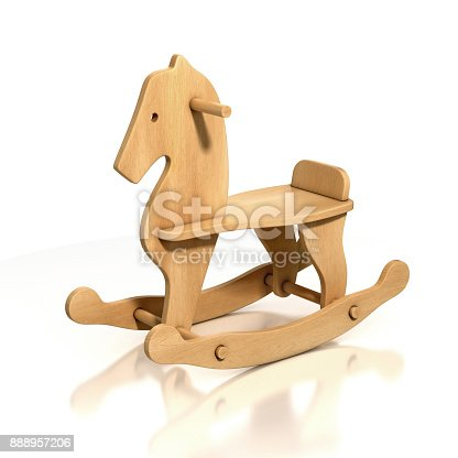 wooden rocking horse chair 3d illustration