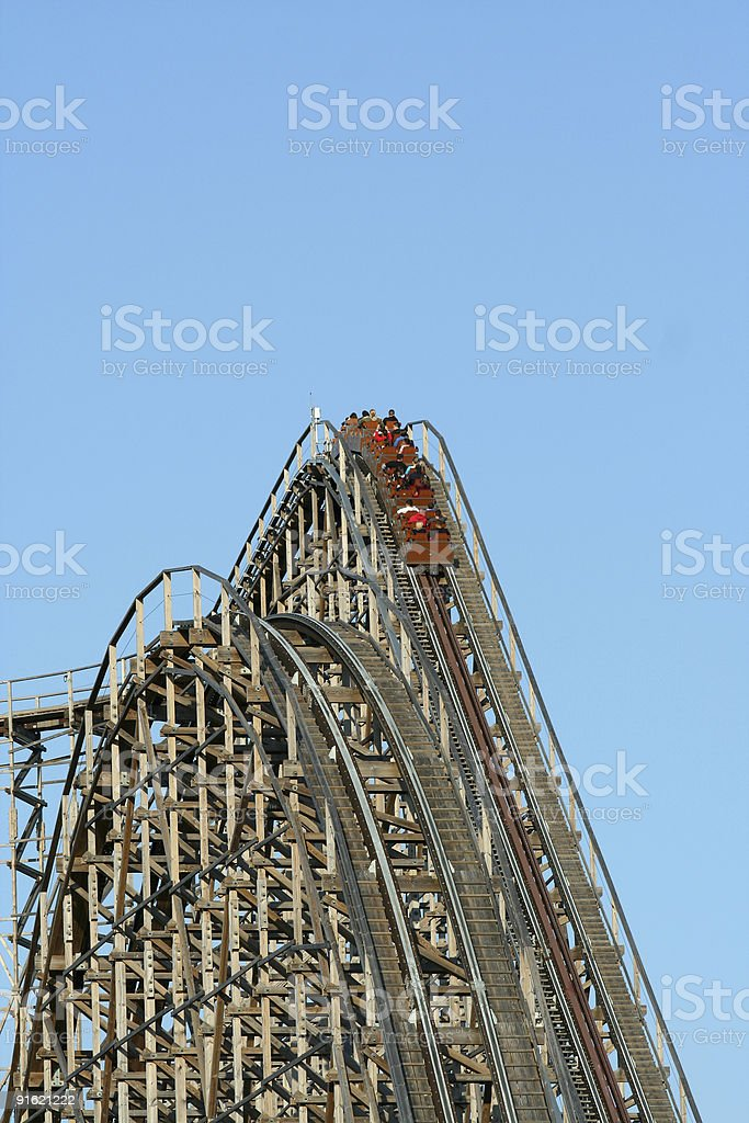 Wooden roller coaster stock photo
