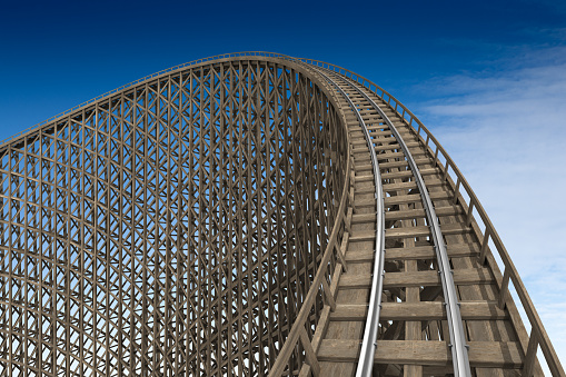 Wooden roller coaster track at park