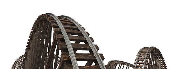 wooden roller coaster tracks on a white background - roller coaster stock pictures, royalty-free photos & images