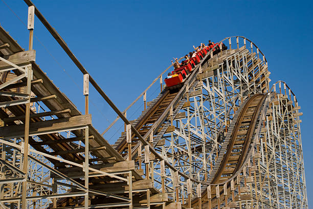 wooden rollercoaster - roller coaster stock pictures, royalty-free photos & images