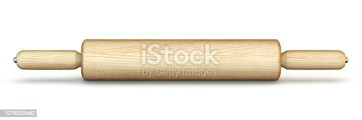 istock Wooden rolling pin 3D 1076335462