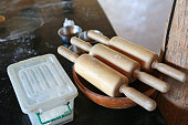 Wooden rolling pin tools.