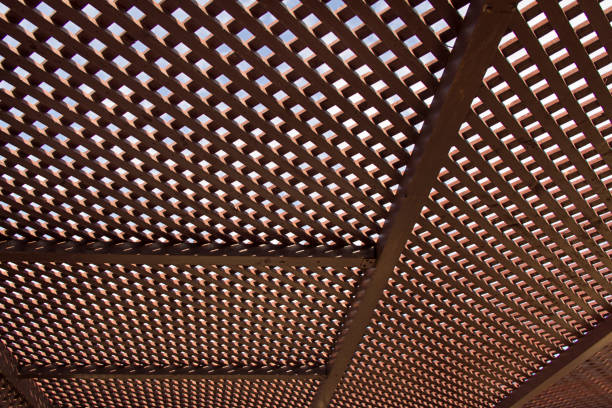 Wooden roof canopy, geometric pattern stock photo