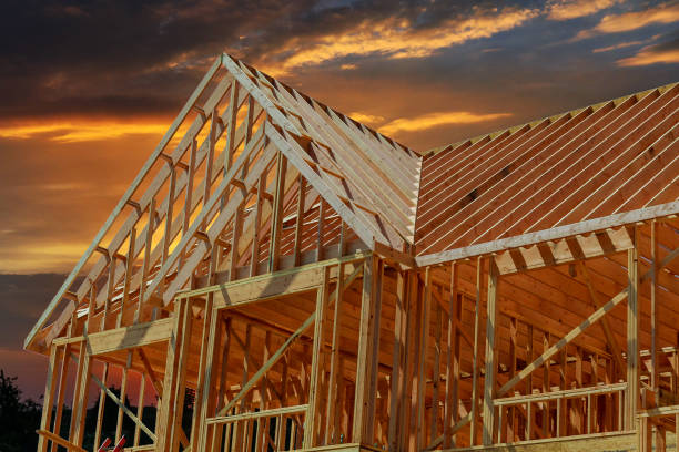 hölzerne Dachkonstruktion für Zuhause, – Foto