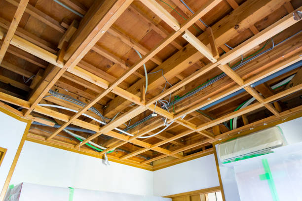 Wooden Roof Frame and piping, electric wire stock photo