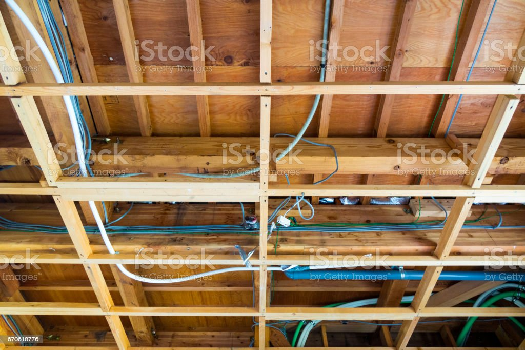 Fabulous Wooden Roof Frame And Piping Electric Wire Stock Photo More Wiring Database Pengheclesi4X4Andersnl