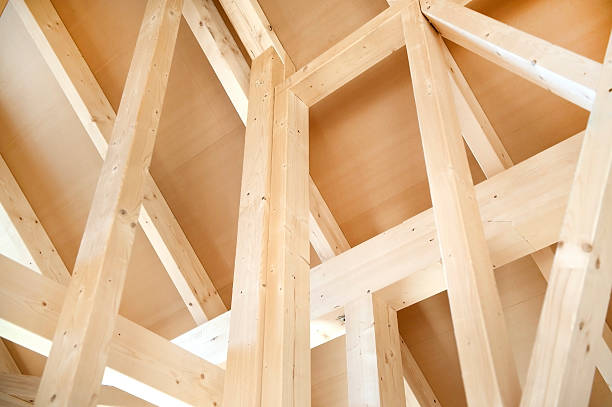 Wooden roof frame of house under construction