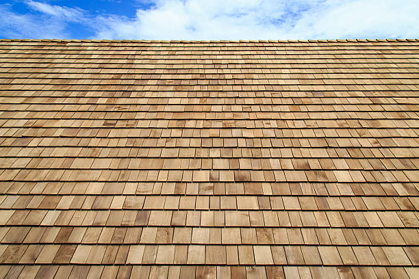 wooden roof shingle texture - milkshake stockfoto's en -beelden