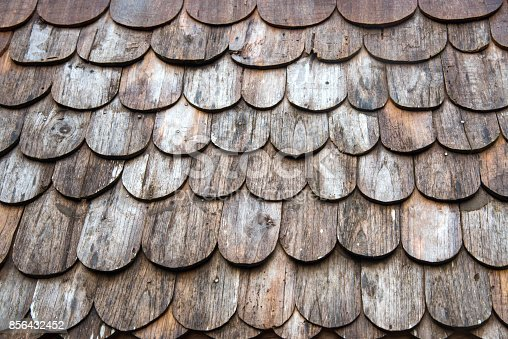istock Wooden roof texture,background or wallpaper in the old traditional house roof or temple in Thailand 856432452