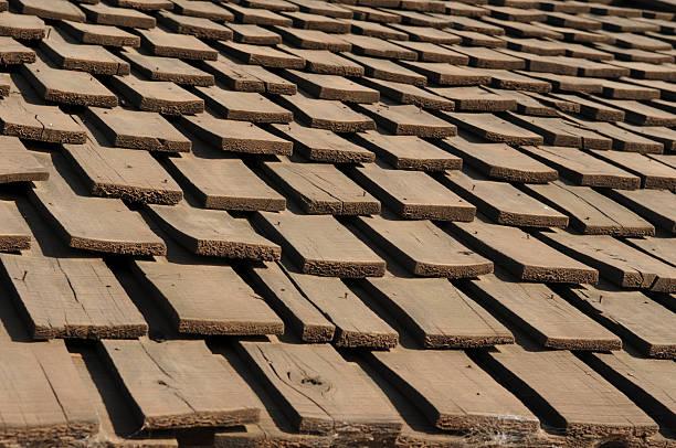 Wooden roof tiles, Kenya stock photo