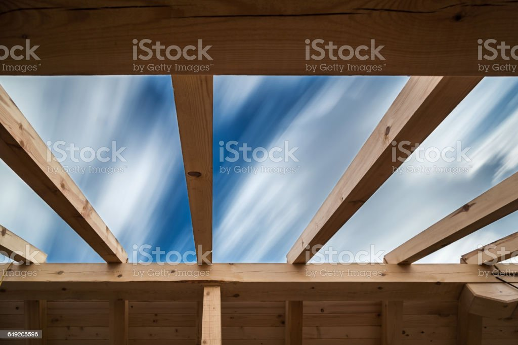 Wooden roof under construction stock photo
