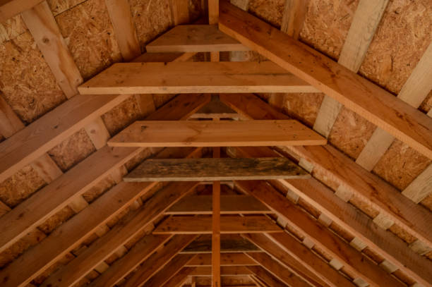 Wooden roof with beams Wooden roof with beams attic stock pictures, royalty-free photos & images