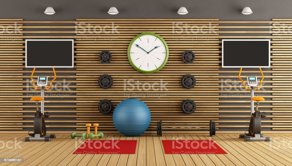 Wooden room with gym equpment royalty-free stock photo