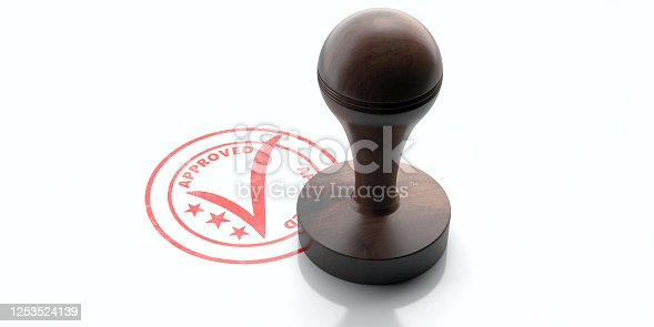 APPROVED stamp. Wooden round rubber stamper and stamp with text approved isolated on white background. 3d illustration