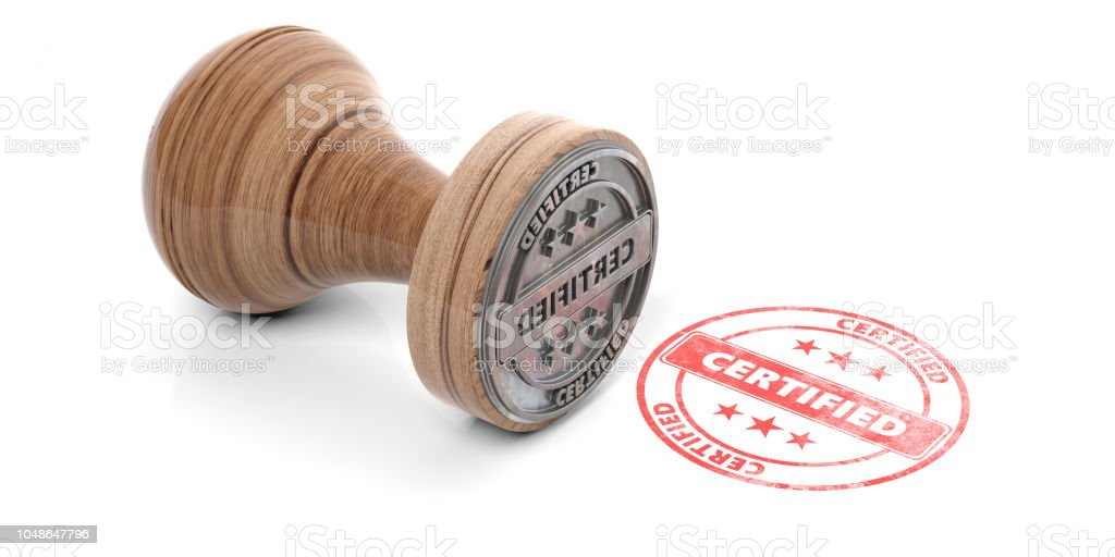 Wooden round rubber stamper and stamp with text certified isolated on white background. 3d illustration - foto stock